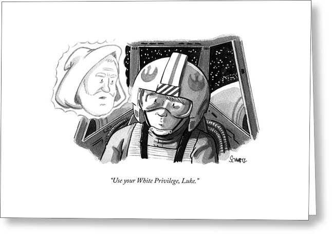 Obi Wan Kenobi Talks To Luke Skywalker Greeting Card by Benjamin Schwartz