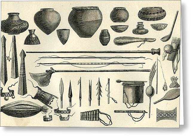 Objects Of The Chontaquiros Indians 1869 Peru Greeting Card