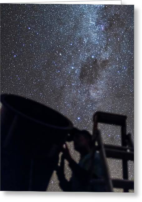Observer & Telescope At Ozsky Star Party Greeting Card
