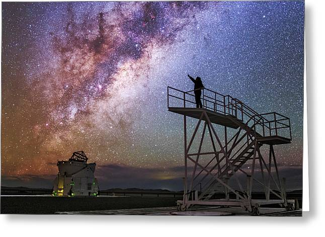 Observer Pointing At The Milky Way Greeting Card by Babak Tafreshi