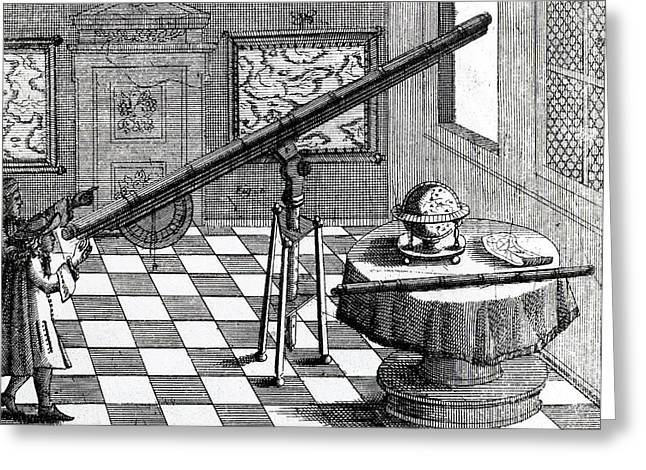 Observers Using A Refracting Telescope Greeting Card