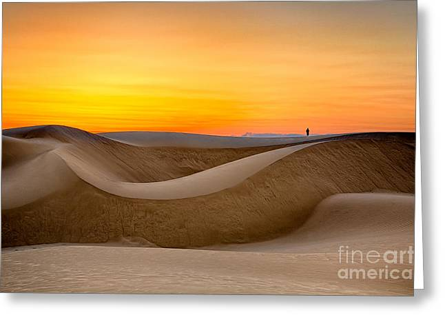 Observing Sunset At The Oceano Dunes Greeting Card