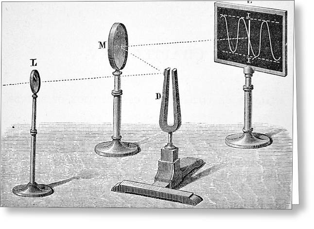 Observing The Vibration Of A Tuning Fork Greeting Card by Universal History Archive/uig