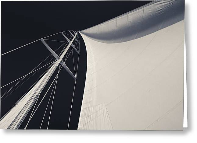 Obsession Sails 3 Black And White Greeting Card