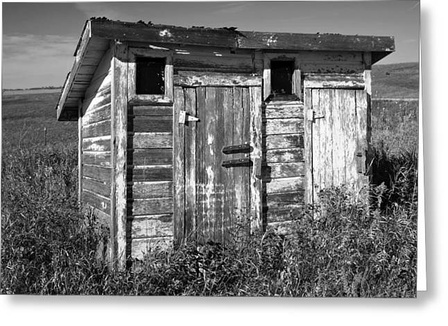 Obsolete Country School Outhouse Greeting Card by Donald  Erickson
