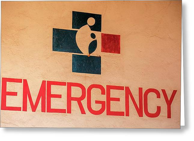Obstetrics Emergency Sign Greeting Card by Mauro Fermariello/science Photo Library