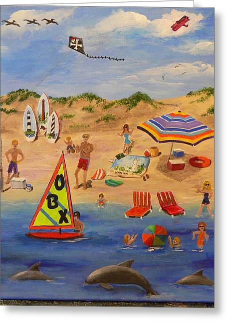 Greeting Card featuring the painting Obx Beach by Catherine Hamill