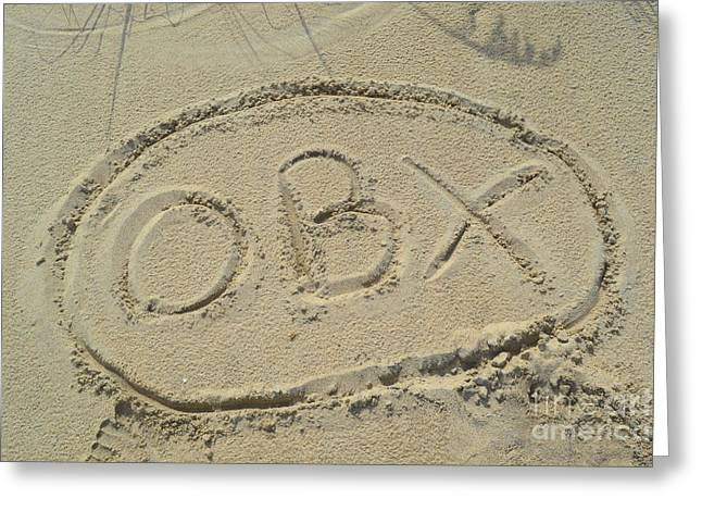 Obx Sign In The Sand Greeting Card