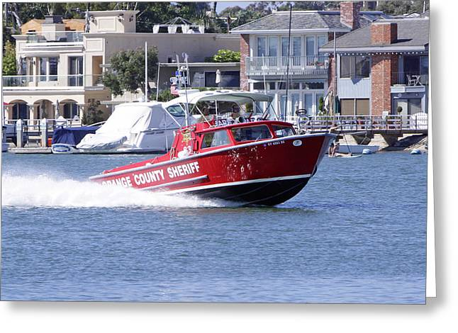 Oc Sheriff Harbor Patrol Fire Fighter Greeting Card by Shoal Hollingsworth