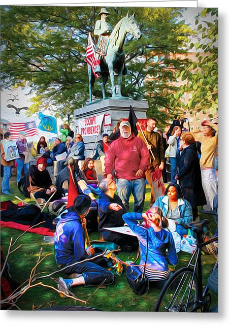 Occupy Burnside Greeting Card by Richard Trahan