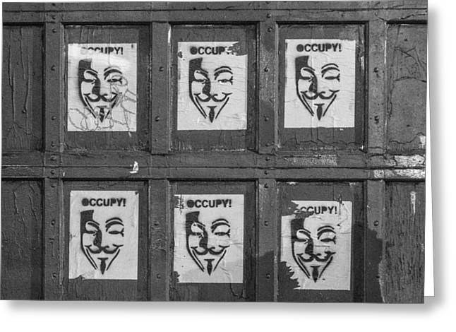 Occupy Face Greeting Card by Zac Marcengill