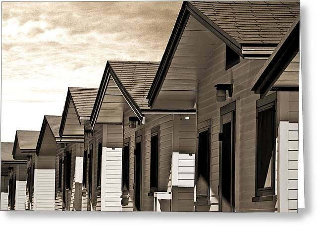 Ocean Beach Bungalows Greeting Card by Larry Butterworth