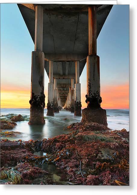 Ocean Beach California Pier 2 Greeting Card by Larry Marshall
