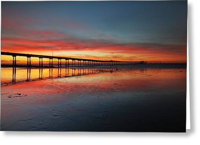 Ocean Beach California Pier 3 Greeting Card by Larry Marshall