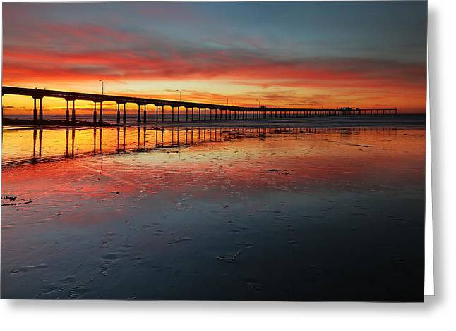 Ocean Beach California Pier 3 Panorama Greeting Card by Larry Marshall