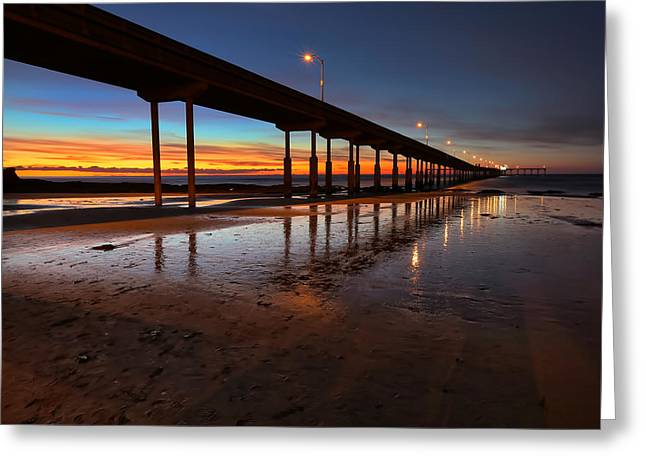 Ocean Beach California Pier 4 Greeting Card by Larry Marshall