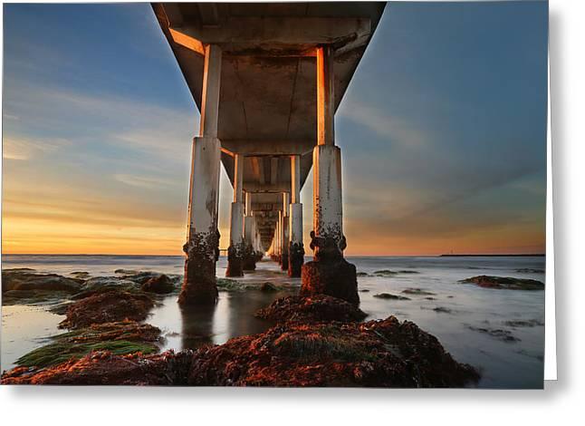Ocean Beach California Pier Greeting Card by Larry Marshall