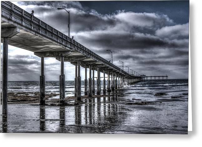 Ocean Beach Pier Greeting Card by Photographic Art by Russel Ray Photos