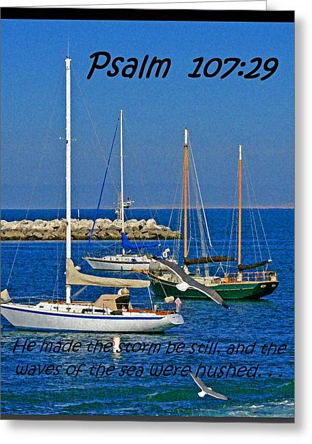 Ocean Birds -  Calm Sea - Psalm 107-29 Greeting Card by Joseph Coulombe