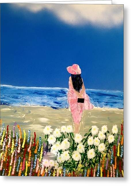 Greeting Card featuring the painting Ocean Breeze by Michael Rucker