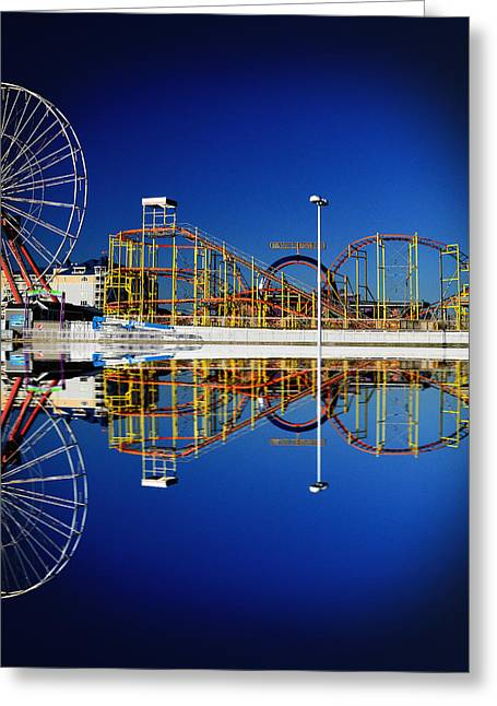 Ocean City Amusement Pier Reflections Greeting Card