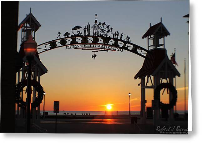 Ocean City Boardwalk Arch New Year Sunrise Greeting Card