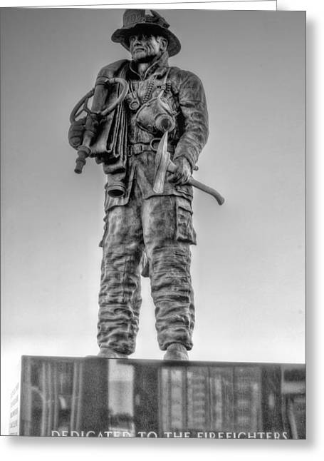 Ocean City Firefighter Memorial Bw Greeting Card