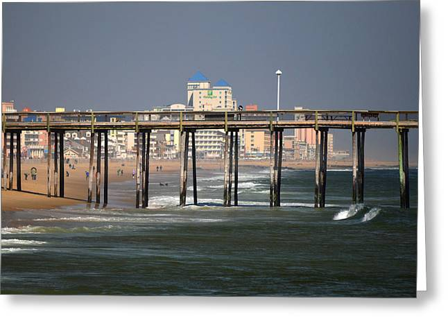 Greeting Card featuring the photograph Ocean City Fishing Pier In January by Bill Swartwout