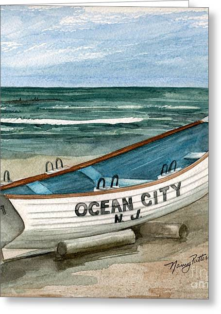 Ocean City Lifeguard Boat 2  Greeting Card