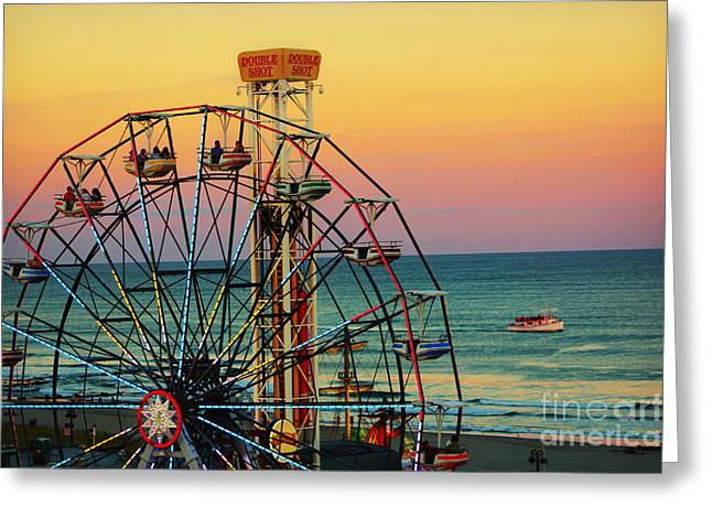 Ocean City Nj Wonder Wheel And Double Shot Greeting Card