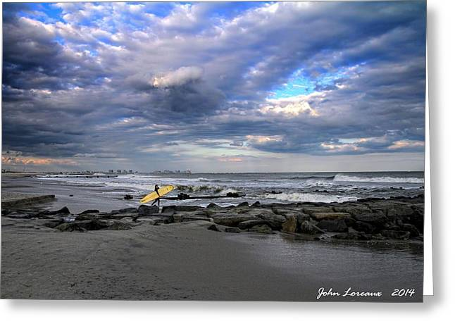 Ocean City Surfing Greeting Card by John Loreaux