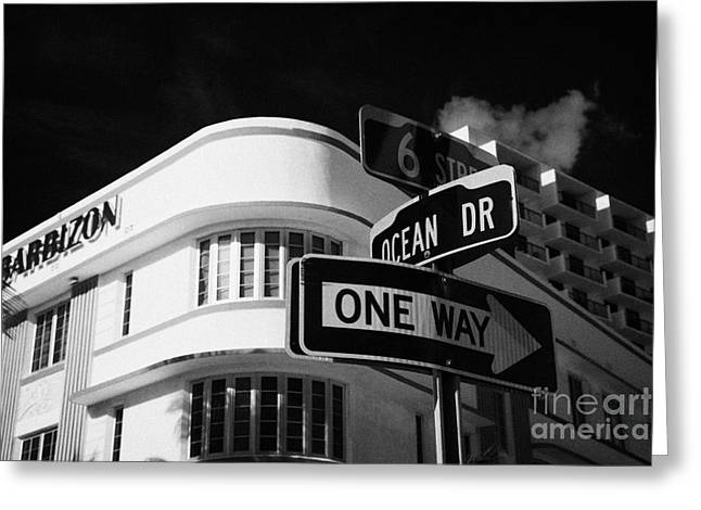 Ocean Drive And 6th Street In The Art Deco District Of Miami South Beach Florida Usa Greeting Card by Joe Fox