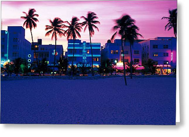 Ocean Drive Miami Beach Fl Usa Greeting Card by Panoramic Images