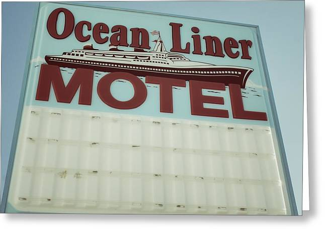 Ocean Liner Motel Greeting Card by Brandon Addis