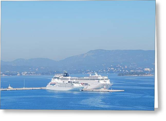 Ocean Liners In Corfu Greeting Card by George Katechis