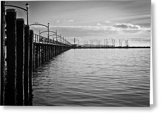 Ocean Pier In Black And White Greeting Card