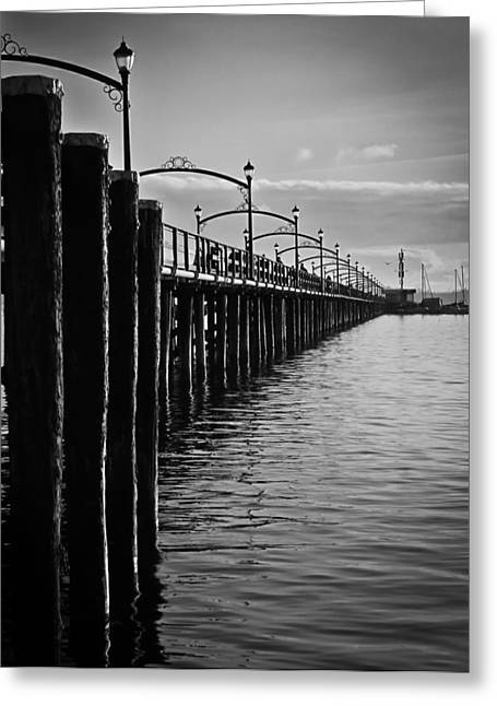Ocean Pier In Black And White II Greeting Card