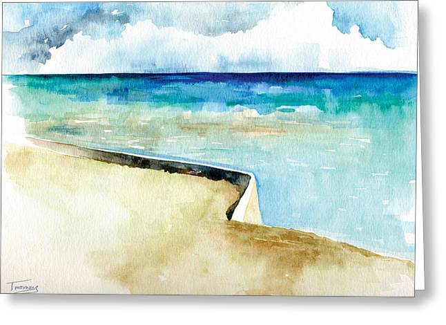 Ocean Pier In Key West Florida Greeting Card by Catherine Twomey