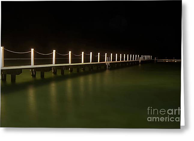 Ocean Pool By Night 2 Greeting Card by Kaye Menner
