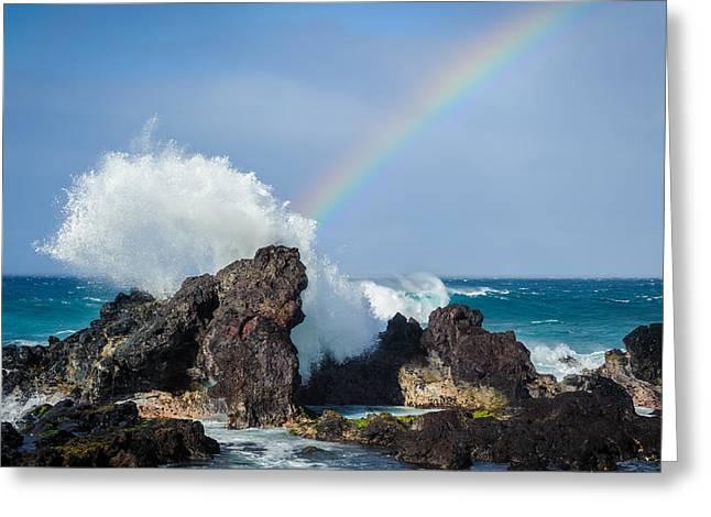 Ocean Rainbow Explosion Greeting Card by Jen Morrison