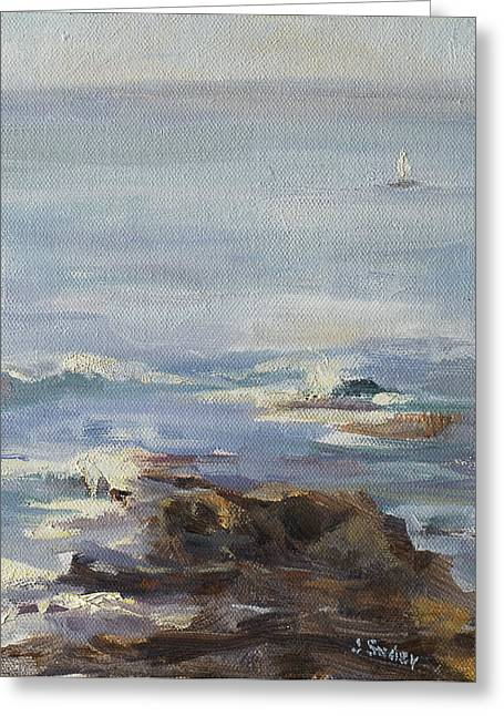 Ocean Rocks With Sailboat Greeting Card