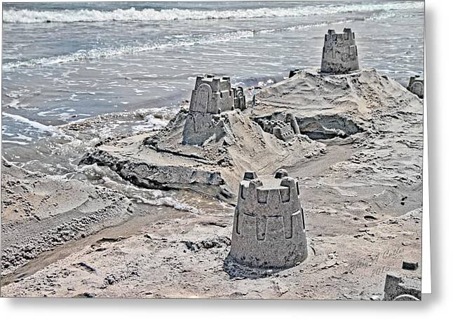 Ocean Sandcastles Greeting Card by Betsy Knapp