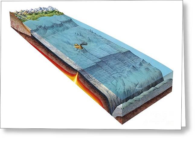 Ocean Sea Floor Spreading, Artwork Greeting Card