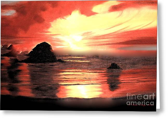 Ocean Shore On Canvas Greeting Card