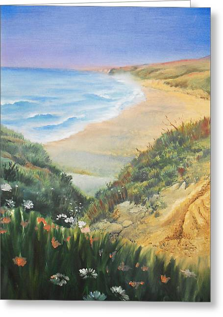 Ocean Shore Through The Hills Greeting Card by Irina Sztukowski