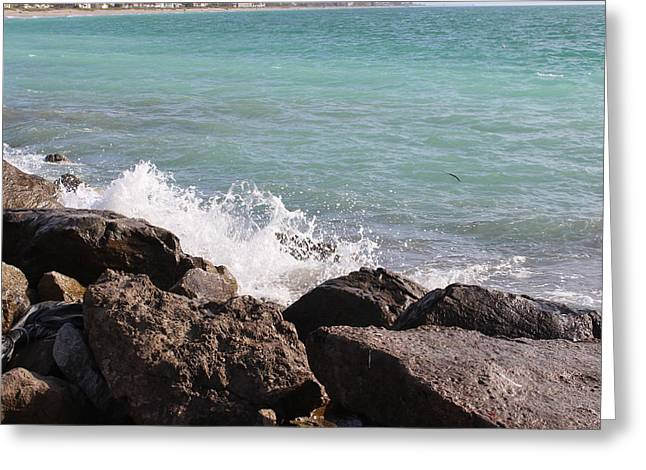 Ocean Spray On Rocks Greeting Card