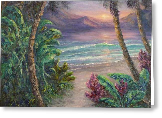 Ocean Sunrise Painting With Tropical Palm Trees  Greeting Card