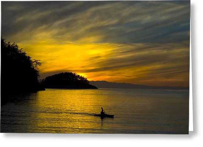 Ocean Sunset At Rosario Strait Greeting Card