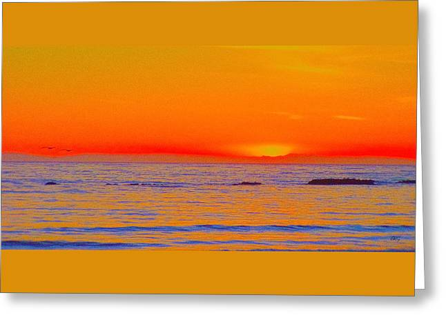 Ocean Sunset In Orange And Blue Greeting Card