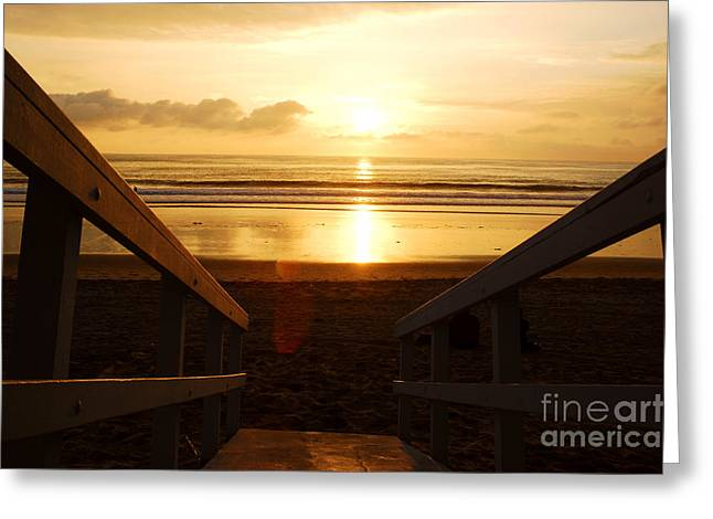 Ocean Sunset Greeting Card by Micah May